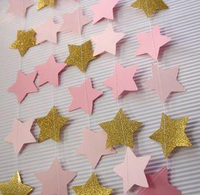 Vintage Yıldız Çelenk Pembe altın balerin parti prenses parti ilk doğum günü partisi twinkle twinkle yıldız