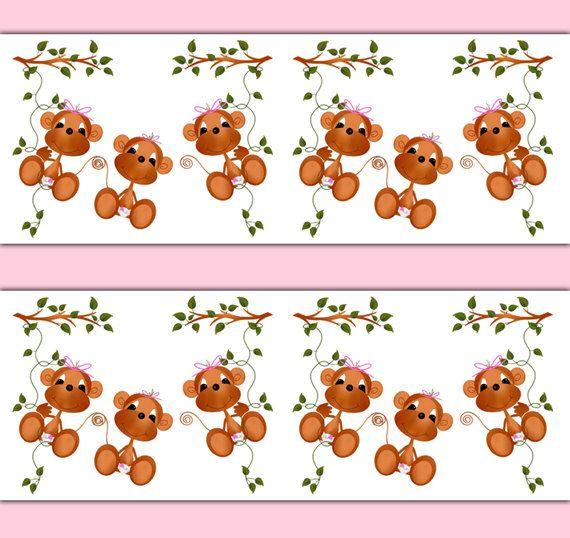 MONKEY DECAL STICKER Wallpaper Border Wall Art Girl Safari Nursery Baby Decor Kids Pink Room Childrens Jungle Bedroom Hanging Swinging Vine #decampstudios
