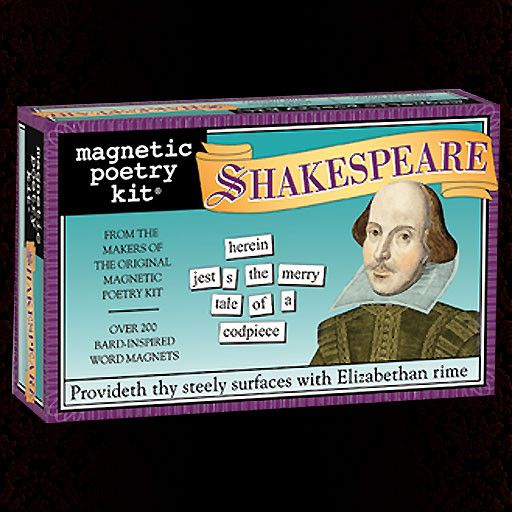 Over 240 Bard-inspired word magnets. Provideth thy steely surfaces with Elizabethan rime!