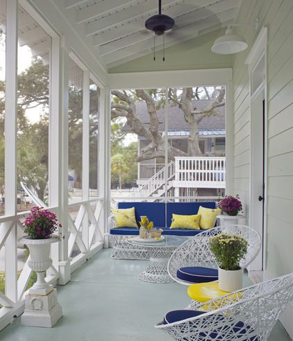 beach style porch by Joel Snayd #blue and #yellow