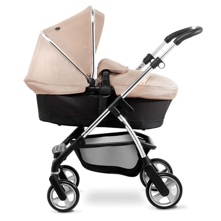 The Silver Cross Wayfarer pram system in carrycot mode, shown in Sand with the chrome chassis.