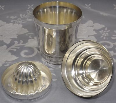 3 parts of Small hallmarked silver plate cocktail shaker juicer