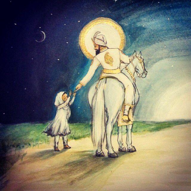 """If it pleases You, unite me with You."" Beautiful Guru Gobind Singh Ji artwork by @jessekaur13"