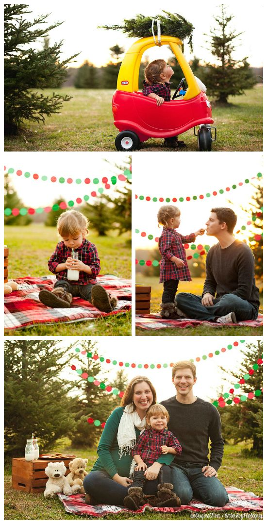 Great ideas for staging family christmas photos at a tree farm. So cute!