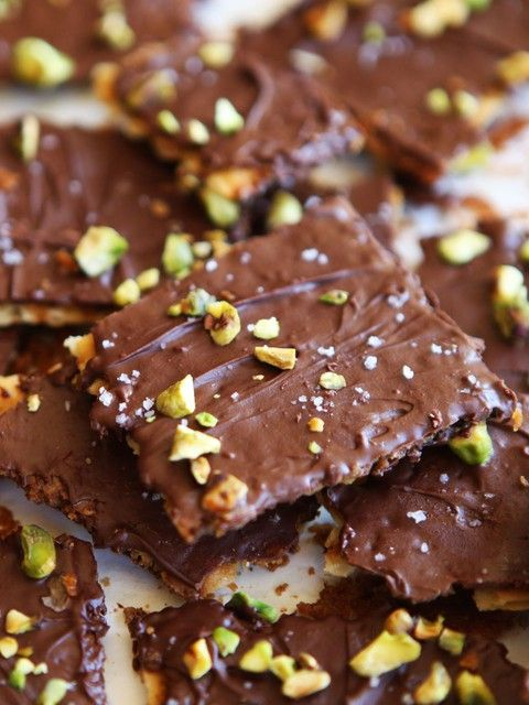 Chocolate Toffee Matzo Crunch with Pistachios and Sea Salt - Delicious Passover Dessert Recipe