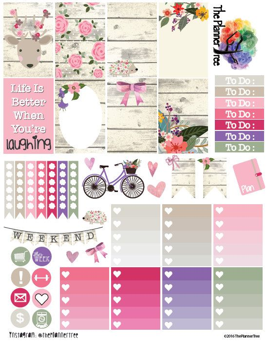 RUSTIC FLORALS Planner Sticker Printable Kit by ThePlannerTree                                                                                                                                                                                 More