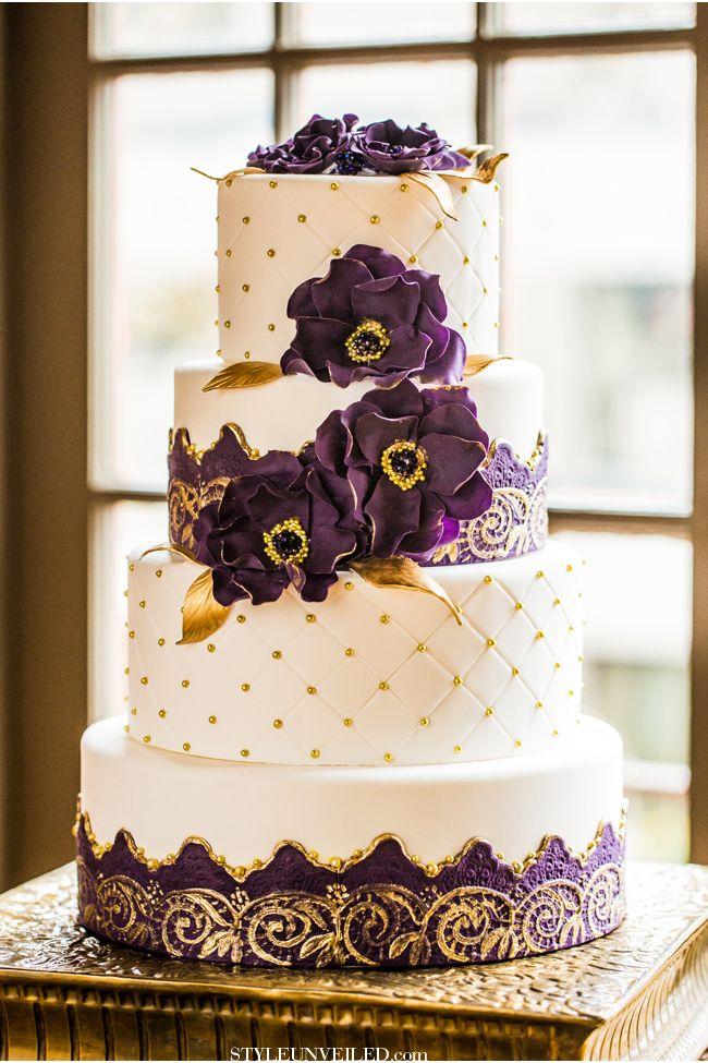 27 Spectacular Wedding Cake Ideas Purple Gold