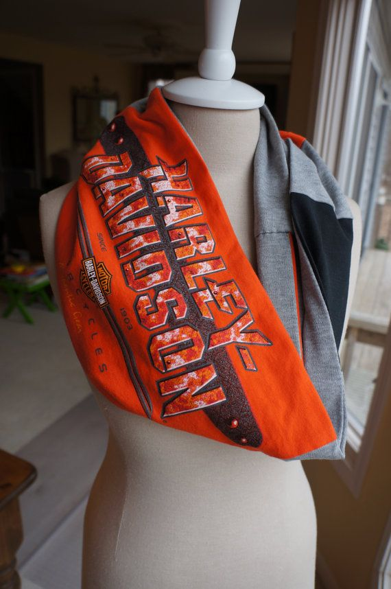 Recycled t-shirt Harley Davidson infinity scarf by tenthreads