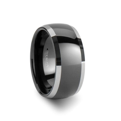 MEMPHIS Domed Black Tungsten Wedding Band with Polished Edges - 10mm - FREE Engraving, FREE Expedited Shipping & FREE