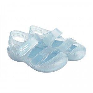 Zapatillas de agua niños velcro Igor Bondi translúcido celeste