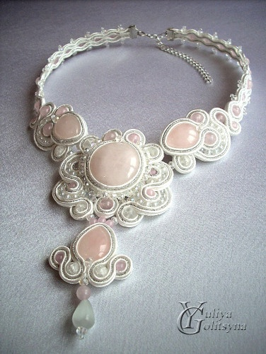 Collana soutache «Mylene» using blue beads this would be beautiful for my nieces wedding