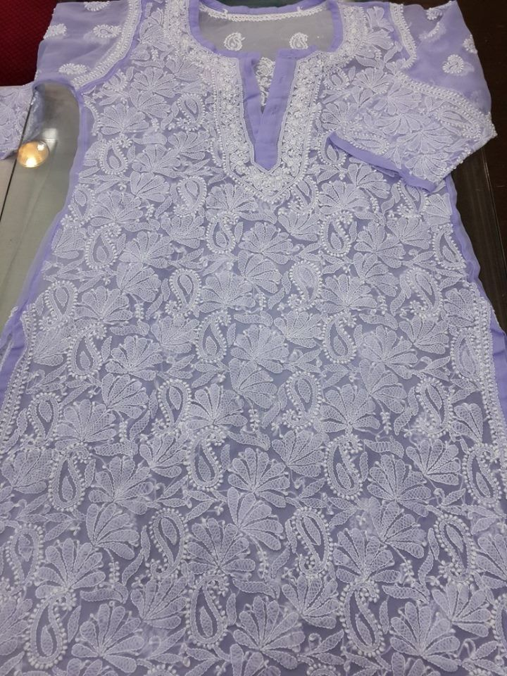 Exclusive Lucknow Chikan Purple Georgette Kurti With Fine