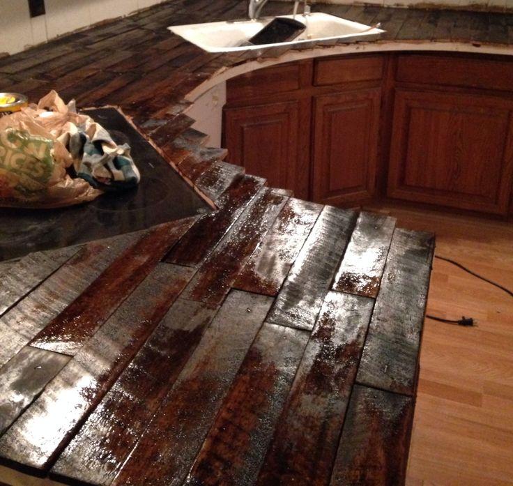 DIY Pallet Countertop Dark Walnut Stain