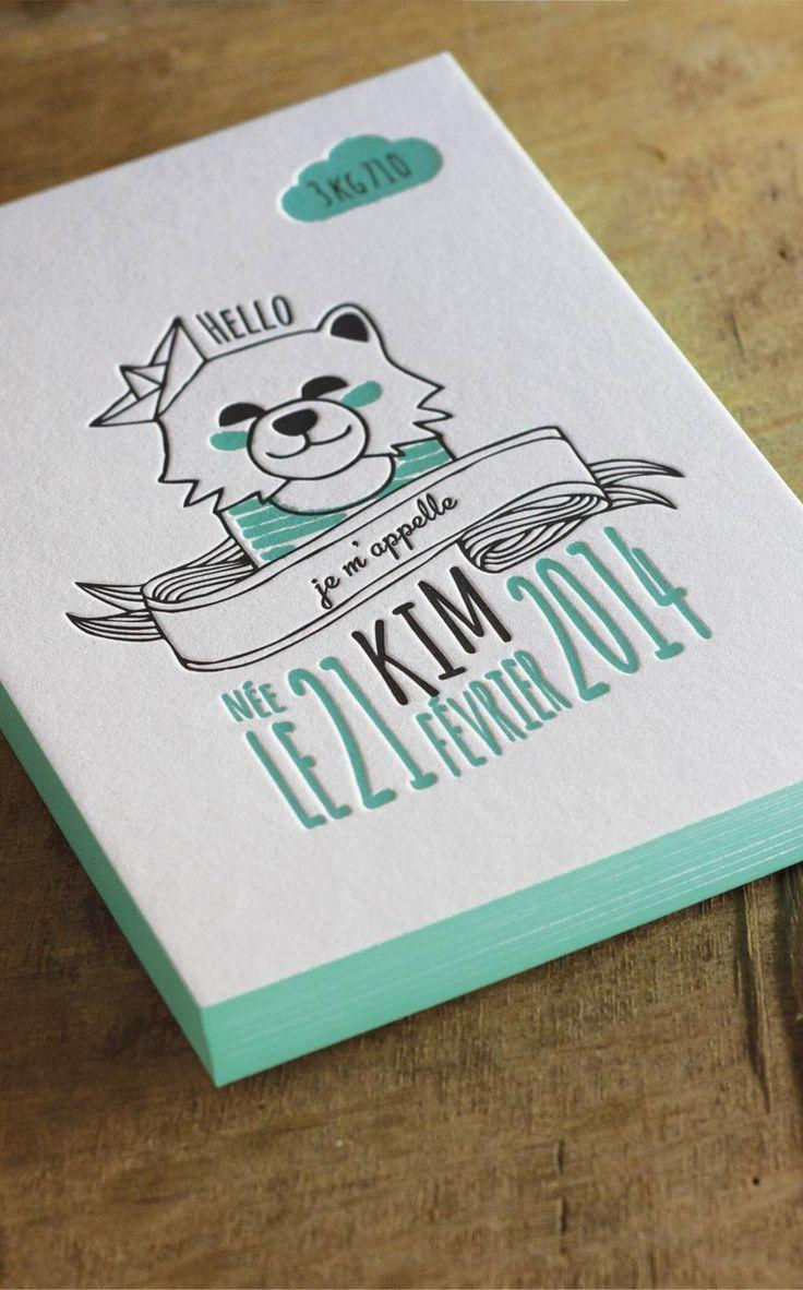 Faire part de naissance Letterpress  http://houseofpress.fr/tag/faire-part-naissance-letterpress/