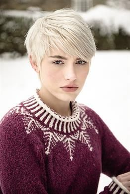 """Craving a wintry fair isle sweater project? Here it is! """"Etherow"""" has raglan sleeves, corrugated ribbing, and a stranded yoke. Knit with 12-16 balls of @rowanyarns Alpaca Merino DK and size 5 and 7 needles. Design by Sarah Hatton."""
