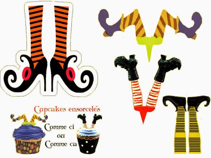Brujas: Toppers y Marcadores de Copas para imprimir Gratis.