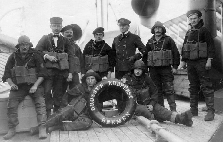 Image of part of the crew of Grosser Kurfürst, probably of a single lifeboat crew, with Franz Evermann believed to be at extreme rght in the top row. Date of the image is not known.