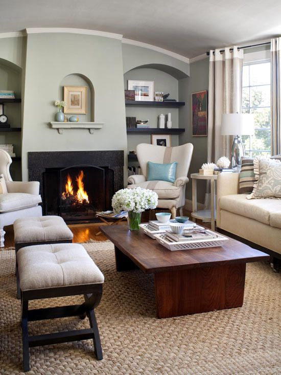 Living room inspiration.  Drooling over that whole fireplace wall.