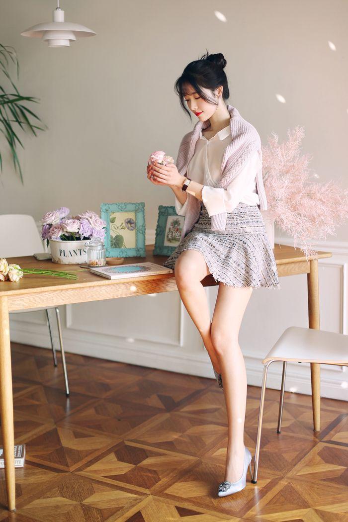 スプリングツイードミニスカート レディースファッション通販 dholicディーホリック ファストファッション 水着 ワンピース 可愛い ファッション 韓国スタイル 美的服