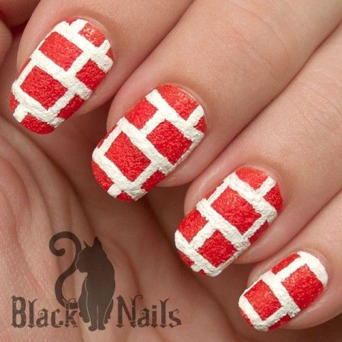 NOTD: Textured Red Brick Nail Art with Sally Hansen Sugar Coat. Today's Nail Of The Day is inspired by the awesome texture of the Sally Hansen Sugar Coat nail polishes.