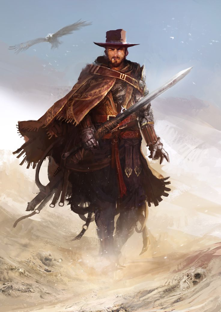The Knight with no name by theDURRRRIAN Clint Eastwood fighter postapocalypse sword gun desert armor clothes clothing fashion player character npc | Create your own roleplaying game material w/ RPG Bard: www.rpgbard.com | Writing inspiration for Dungeons and Dragons DND D&D Pathfinder PFRPG Warhammer 40k Star Wars Shadowrun Call of Cthulhu Lord of the Rings LoTR + d20 fantasy science fiction scifi horror design | Not Trusty Sword art: click artwork for source
