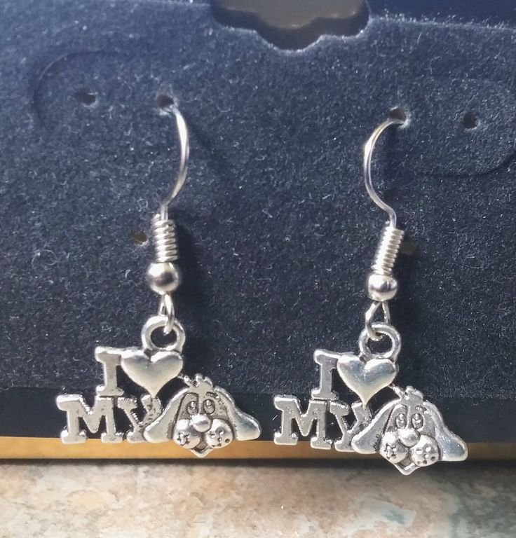 I Love my Dog Silver, Dangle handmade, Earrings, Ladies Jewellery,Fun Earrings, Fashion Accessories, Dog Lovers, Gift for Her, Gift for Mum, by SpryHandcrafted on Etsy