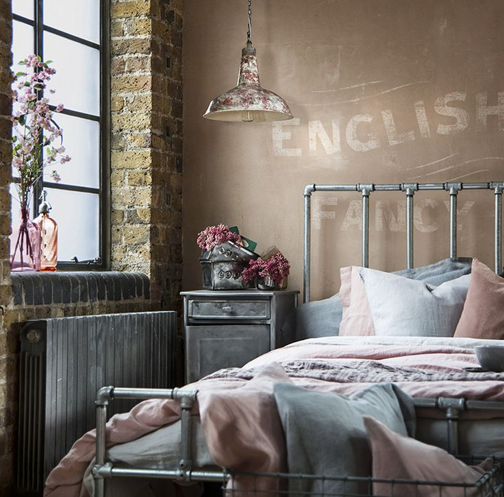 Warehouse Home Soft Industrial Bedroom In Pink And Grey With Vintage Furniture Bespoke Galvanised