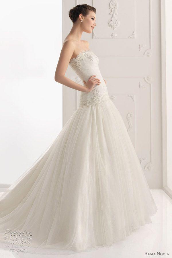 Elegant Sabina strapless wedding dress with lace bodice