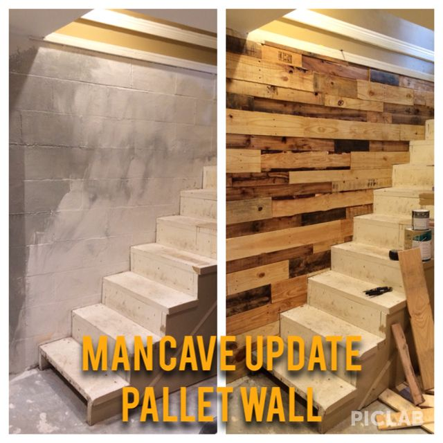Use pallets to update a cinder block wall and add interest to man cave! Used liquid nails to adhere boards to wall, sanded wood and sealed with clear coat.
