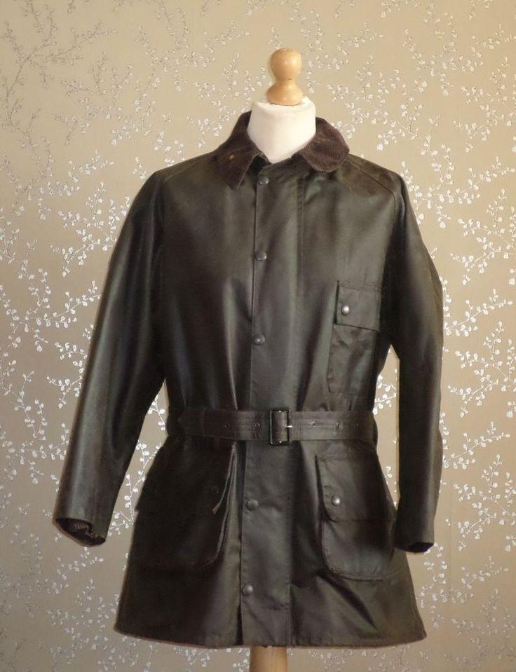 BARBOUR Solway Zipper Wax Jacket Hunting Shooting Coat Fishing Vintage Belted 42