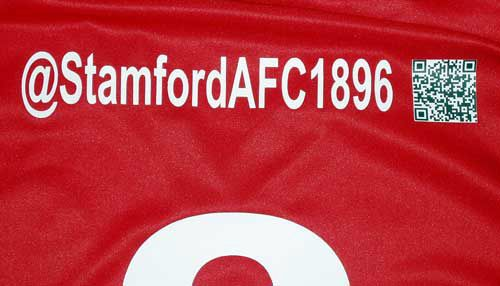 stamford AFC football shirts to include Twitter Handle and QR Code