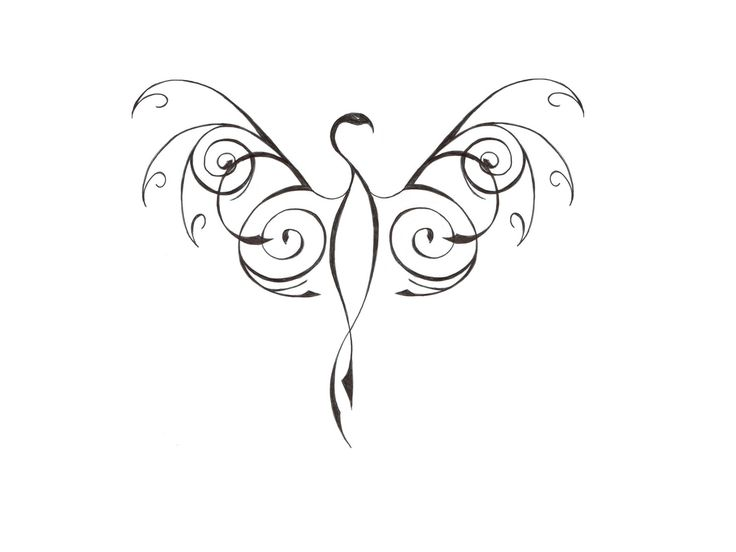 Thin Stylized Phoenix Bird Tattoo Design - Tattoes Idea 2015 / 2016