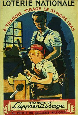Affiche pour le tirage de la Loterie Nationale du 31 mars 1943