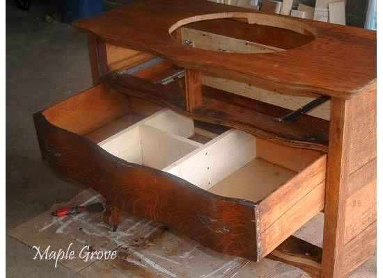 photos of antique dressers turned into bathroom vanities   Antique Dresser turned Vanity