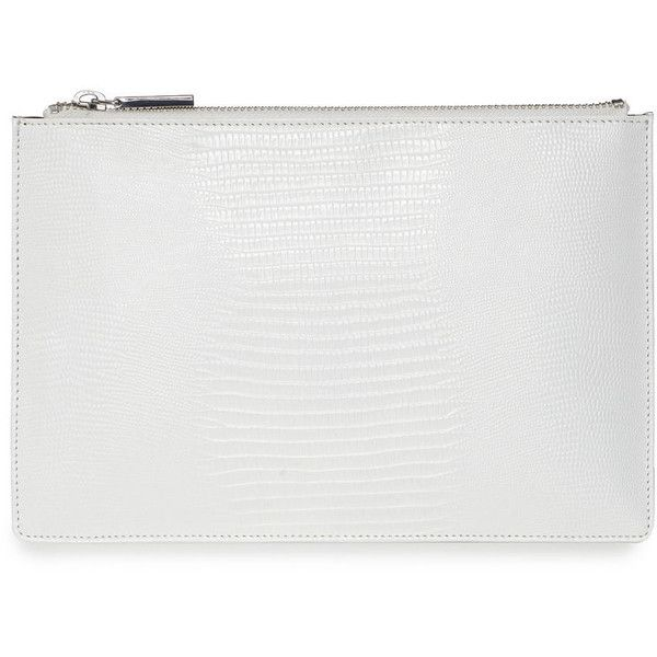 Whistles Small Lizard Clutch (70 AUD) ❤ liked on Polyvore featuring bags, handbags, clutches, accessories, fillers, purses, white, lizard handbag, white clutches and white handbags