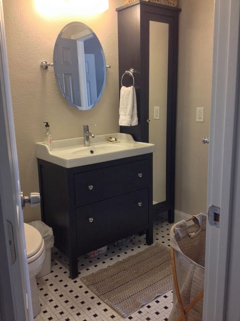 Tall cabinet, smaller sink cabinet >> Bathroom Remodel ~ Lindsey Does