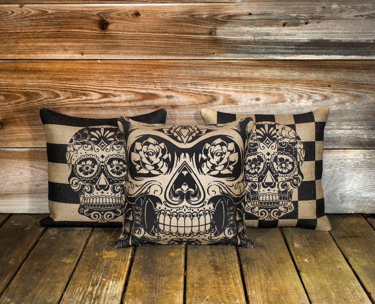 "Skull Pillow Covers (3) Day of the Dead, Sugar Skull Throw Pillow, Día de los Muertos Cushion, Decorative 16"". $115.00, via Etsy."