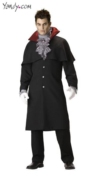 Deluxe Men's Vampire Costume - Long coat with attached shoulder cape and inset shirt sleeves with lace trimmed cuffs, dickie collar with ruffled lace trim and attached medallion. (pants and gloves not included)