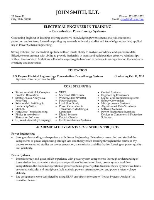 electrical power engineer resume
