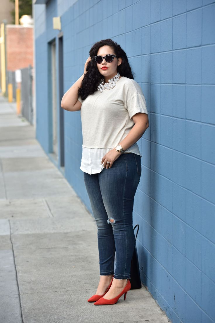 Plus size Layered Top, Frayed Jeans