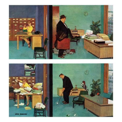 """""""Putting Time in the Office,"""" February 18, 1961 Giclee Print by Richard Sargent at AllPosters.com"""