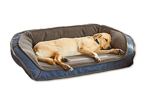 "Orvis Memory Foam Bolster Dog Bed With Fleece / Large Dogs 60-90 Lbs., Heathered Blue, A supersoft FleeceLock sleeping surface adds plush softness to our best-selling bolster dog bed, while the 4""-thick slab of supportive memory foam, designed and calibrated specifically for dogs, cushions joints and promises orthopedic support. The streamlined, plush polyester-filled bolster provides added comfort and a sense of security. This bed is https://pets.boutiquecloset.com/product/o"