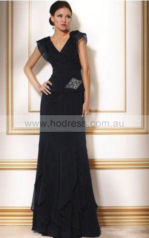 Short Sleeves Zipper V-neck Floor-length Chiffon Evening Dresses dt00178