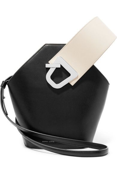 Black and cream leather (Calf) Snap-fastening at open top Comes with dust bag Weighs approximately 2lbs/ 0.9kg