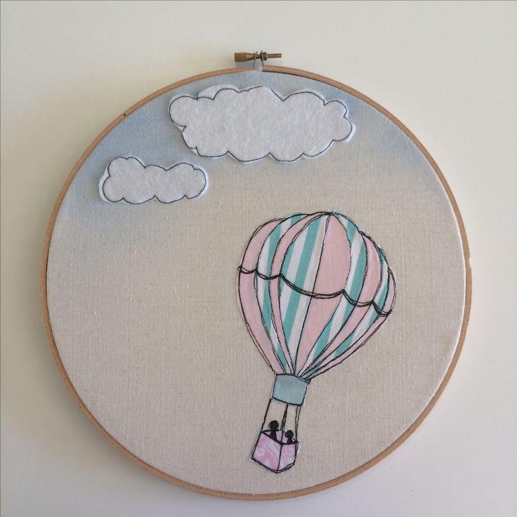 Hot air ballon freemotion embroidery hoop art