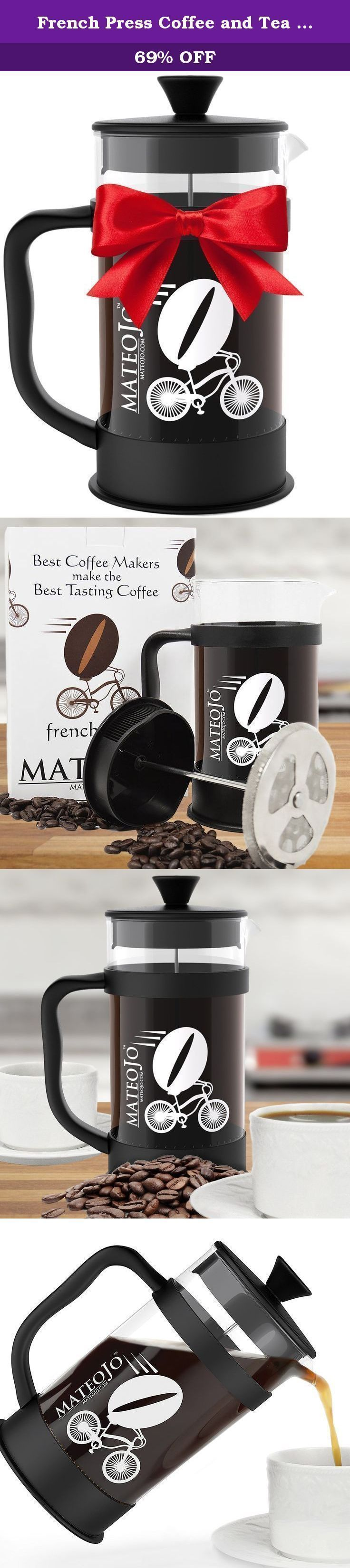 French Press Coffee and Tea Maker - Press Pot - Cafetiere - Carafe and Plunger - 34 Oz by MateoJo. Step-up your coffee experience! It's easy to use and makes great coffee in minutes. Beginner? No problem. Instructions in every box plus How-to videos on our website. Great for road trips and camping too! Compact, easy to pack, and simple to use -- just coffee and hot water for a taste that's better than home! Great for cold brew coffee too! Designed for a premium coffee experience , your 8…