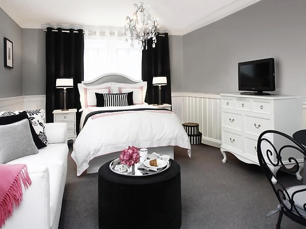 Double Duty Design Ideas   Interior Remodeling   HGTV Remodels  simple black  and white  Black And White Bedroom DecorGrey. 17 Best ideas about Black White Bedrooms on Pinterest   Black