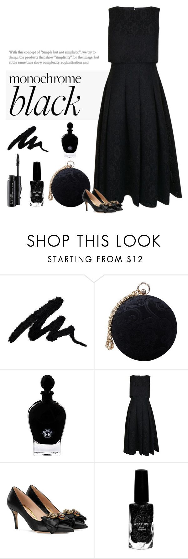 """My Black Dress"" by patricia-dimmick ❤ liked on Polyvore featuring Carvela, EB Florals, Ted Baker, Gucci, Azature, MAC Cosmetics and allblackoutfit"