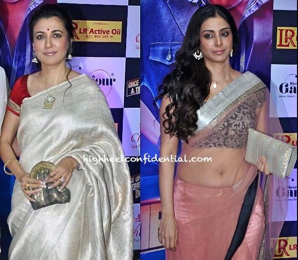 Mini Mathur in a silver silk saree and red blouse
