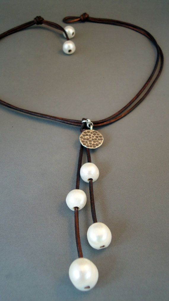 Leather and pearls with antique silver charm by IseaDesigns